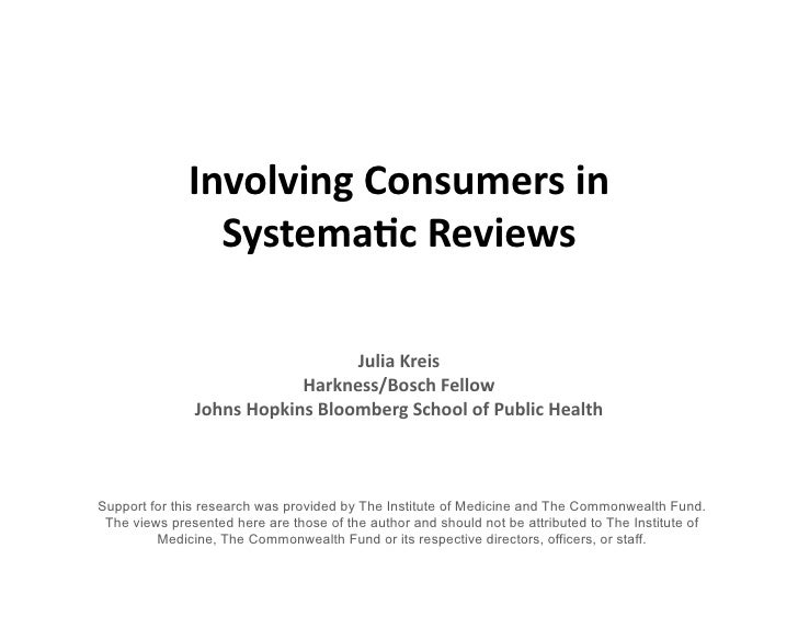 Involving  Consumers  in                   Systema3c  Reviews                                           Julia  ...