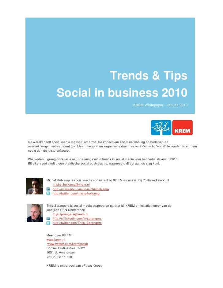 Trends & Tips                    Social in business 2010                                                                  ...