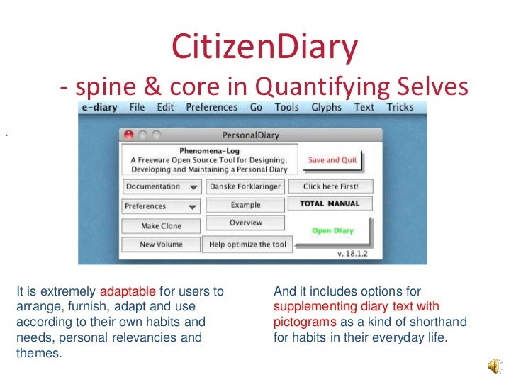 CitizenDiary           - spine & core in Quantifying Selves.    It is extremely adaptable for users to   And it includes o...