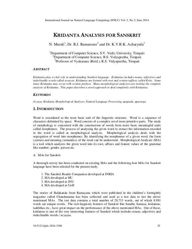 International Journal on Natural Language Computing (IJNLC) Vol. 3, No.3, June 2014 10.5121/ijnlc.2014.3304 33 KRIDANTA AN...