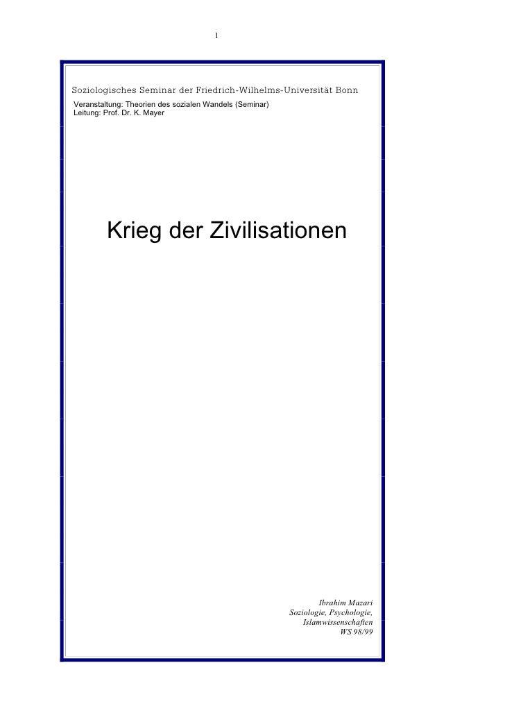 1     Soziologisches Seminar der Friedrich-Wilhelms-Universität Bonn Veranstaltung: Theorien des sozialen Wandels (Seminar...