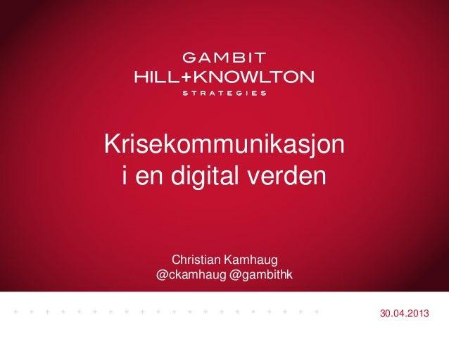 Krisekommunikasjon i en digital verden