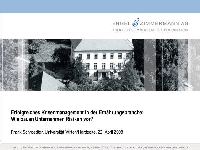 ENGEL & ZIMMERMANN AG – Schloss Fußberg – Am Schlosspark 15 – 82131 Gauting – Telefon 0 89 . 89 35 63 - 3 – Telefax 0 89.8...
