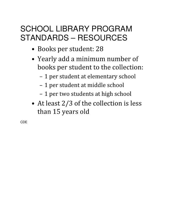 SCHOOL LIBRARY PROGRAMSTANDARDS – RESOURCESCDE