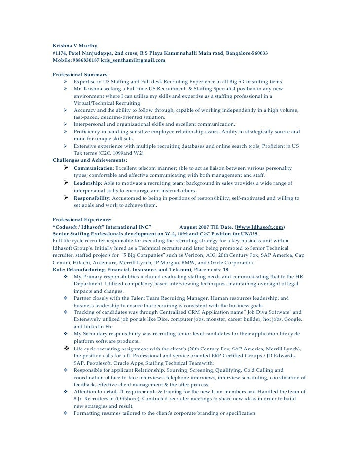 sample recruiting resume - Funf.pandroid.co
