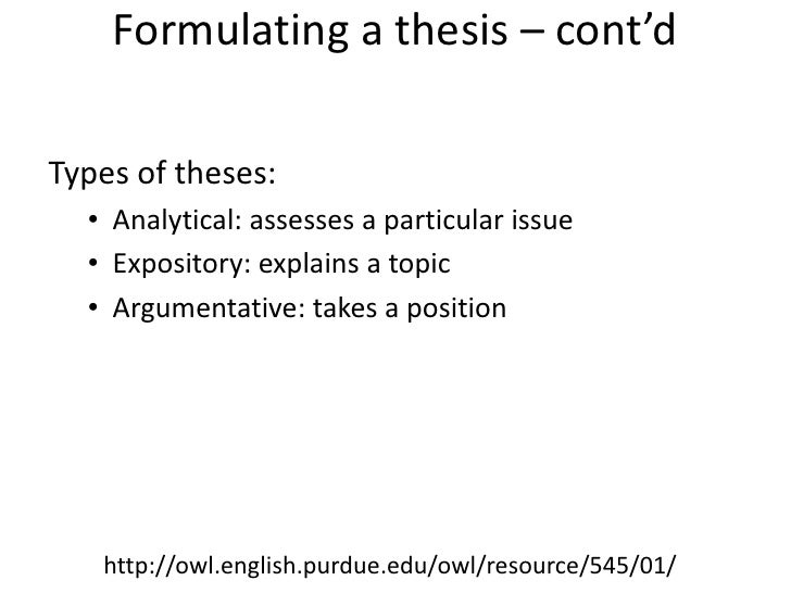 formulate a thesis
