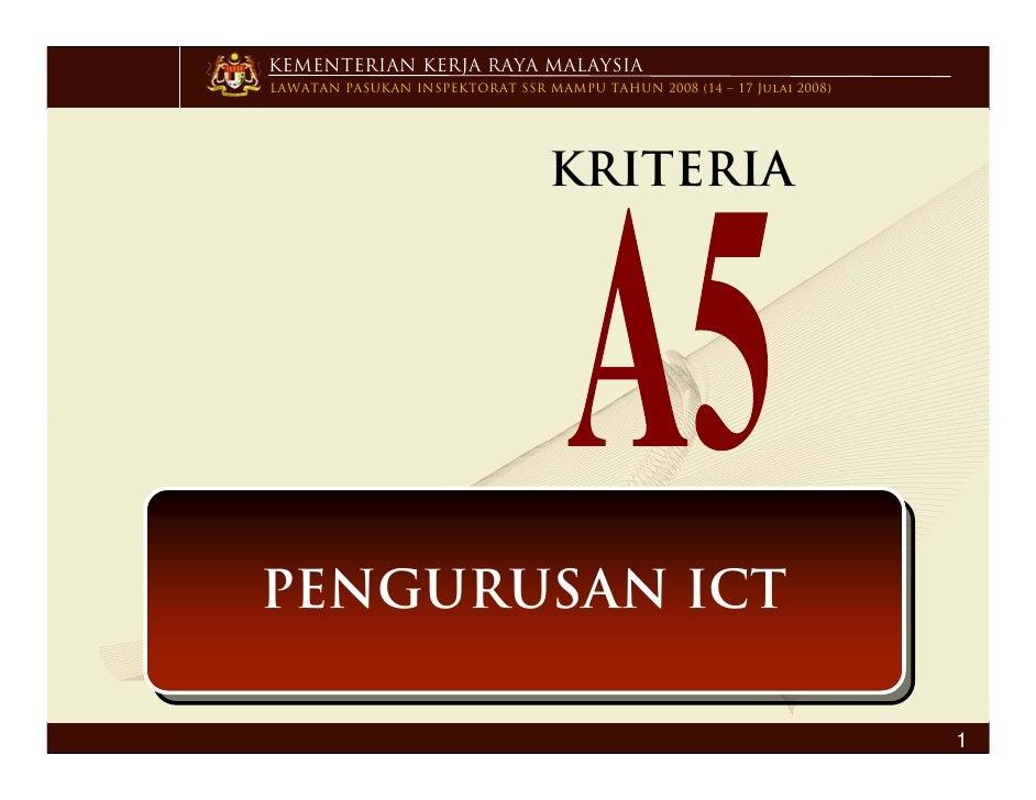Kriteria  A5 Pengurusan  I