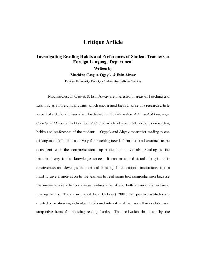 Critique ArticleInvestigating Reading Habits and Preferences of Student Teachers at                  Foreign Language Depa...