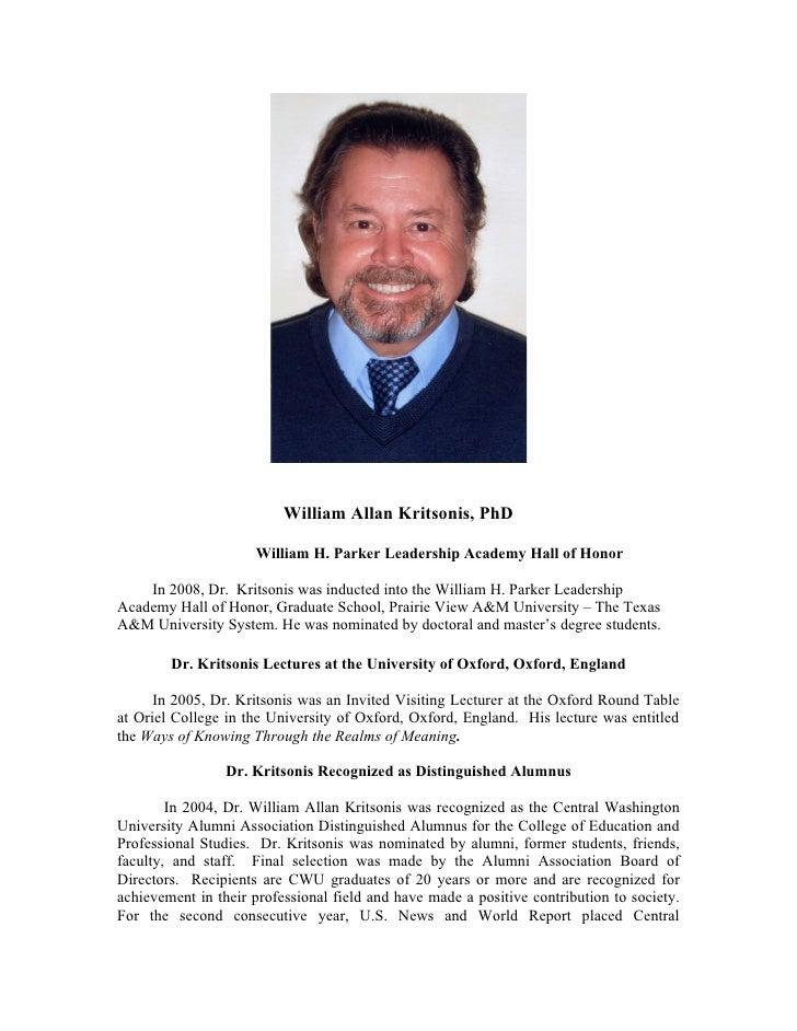 William Allan Kritsonis, PhD - Brief Biographical Sketch