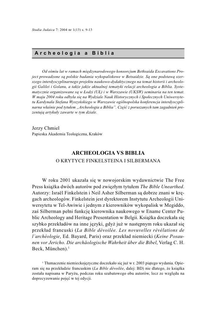 Studia Judaica 7: 2004 nr 1(13) s. 9-13                                                  9      Archeologia a Biblia      ...