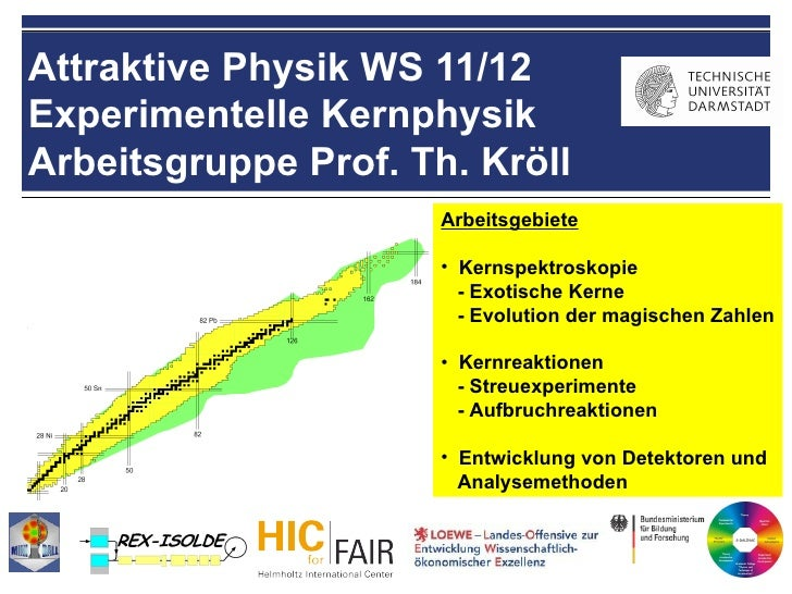 Attraktive Physik WS 11/12Experimentelle KernphysikArbeitsgruppe Prof. Th. Kröll                      Arbeitsgebiete      ...