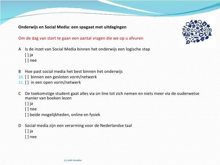 Onderwijs en Social Media: een spagaat met uitdagingenOm de dag van start te gaan een aantal vragen die we op u afvurenA I...