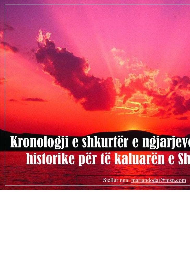 Kronologji e shkurtër e ngjarjeve dhe datave  historike për të kaluarën e Shqiptarëve                         (1 nga 17)  ...