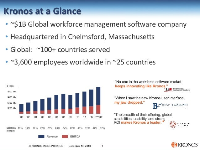 Kronos  at  a  Glance     • ~$1B  Global  workforce  management  so6ware  company   • Headquartere...