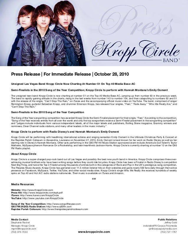 Press Release | For Immediate Release | October 28, 2010 Unsigned Las Vegas Band Kropp Circle Now Charting At Number 51 On...
