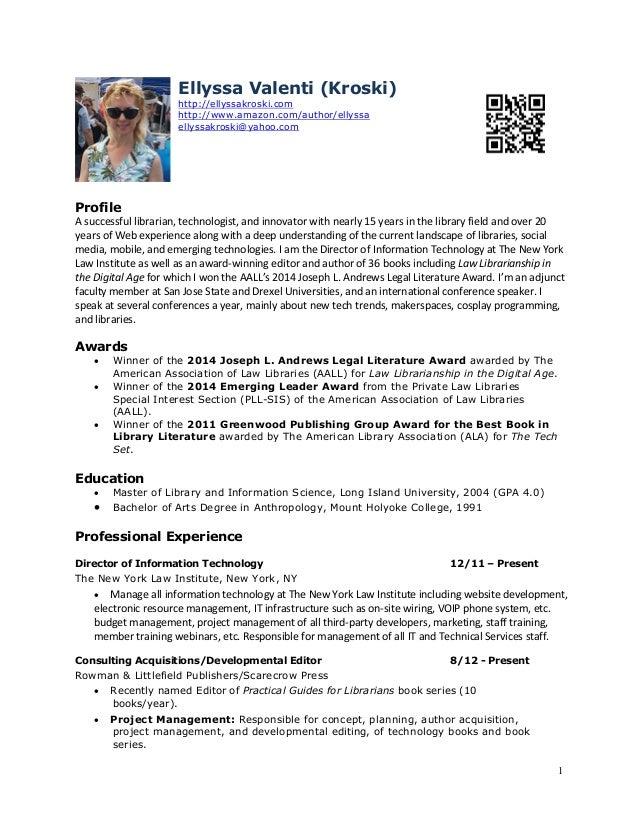 1 Ellyssa Kroski New York, NY http://ellyssakroski.com ellyssakroski@yahoo.com Profile I am an award-winning editor and au...