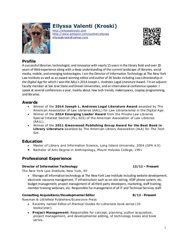 1 Ellyssa Kroski New York, NY http://ellyssakroski.com ellyssakroski@yahoo.com Profile A successful librarian and informat...