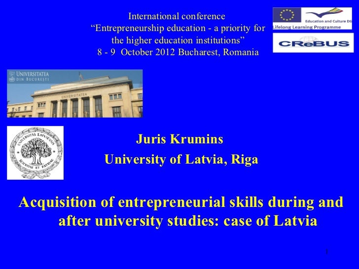"""International conference          """"Entrepreneurship education - a priority for               the higher education institut..."""