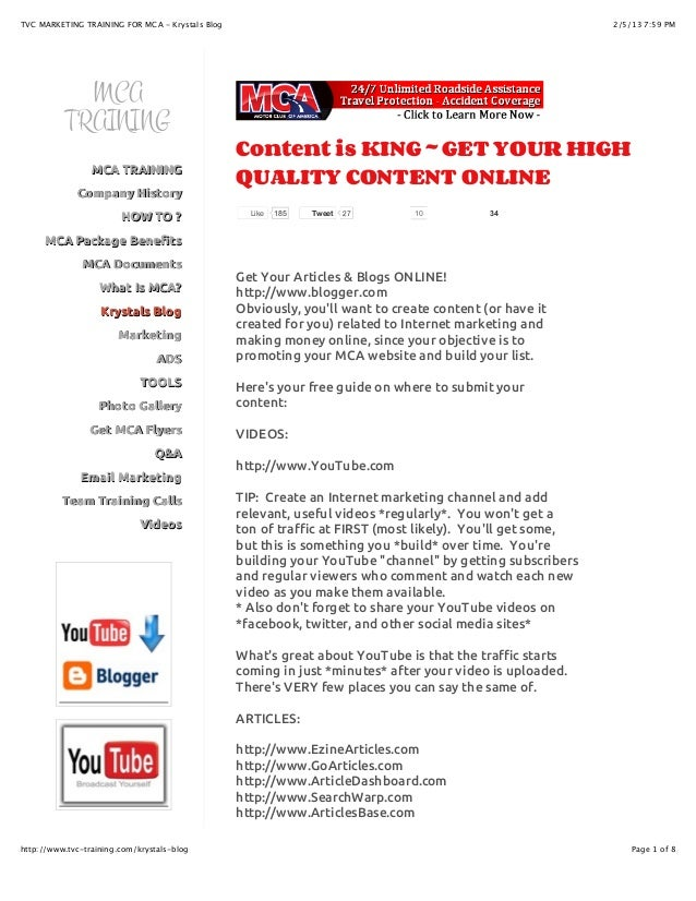 TVC MARKETING TRAINING FOR MCA - Krystals Blog                                                             2/5/13 7:59 PM ...