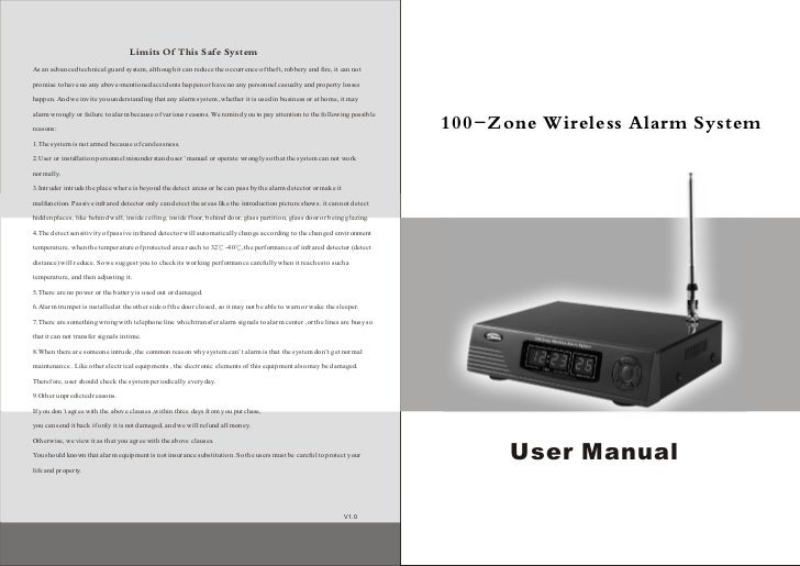 Ks 200B 100zone wireless security devices user's manual