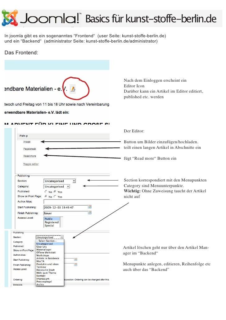 """Basics für kunst-stoffe-berlin.de In joomla gibt es ein sogenanntes """"Frontend"""" (user Seite: kunst-stoffe-berlin.de) und ei..."""