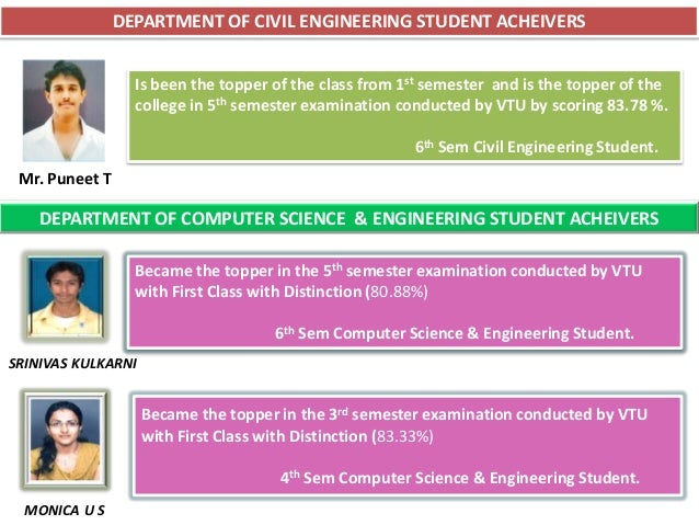 DEPARTMENT OF CIVIL ENGINEERING STUDENT ACHEIVERS                  Is been the topper of the class from 1st semester and i...