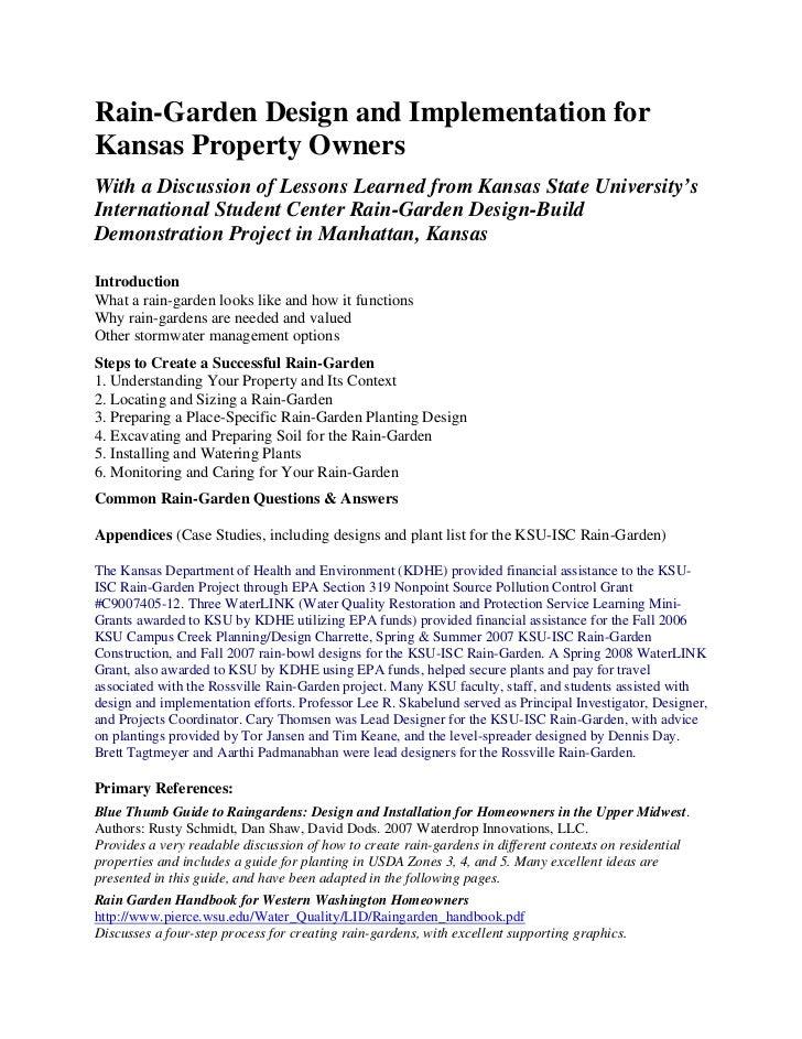 Kansas Rain Garden Manual