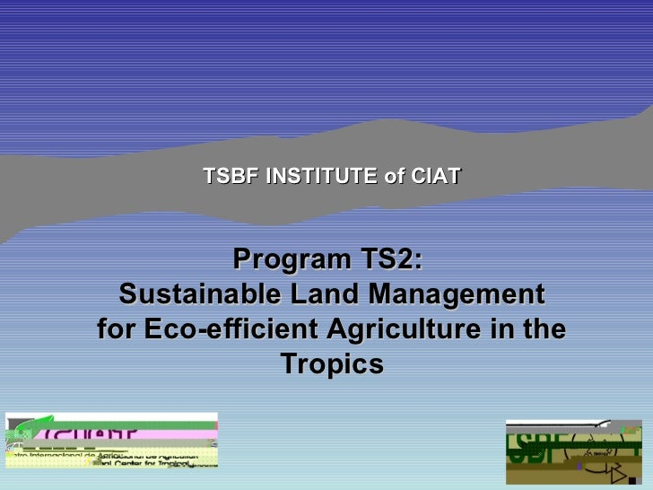TSBF INSTITUTE of CIAT Program TS2:  Sustainable Land Management for Eco-efficient Agriculture in the Tropics
