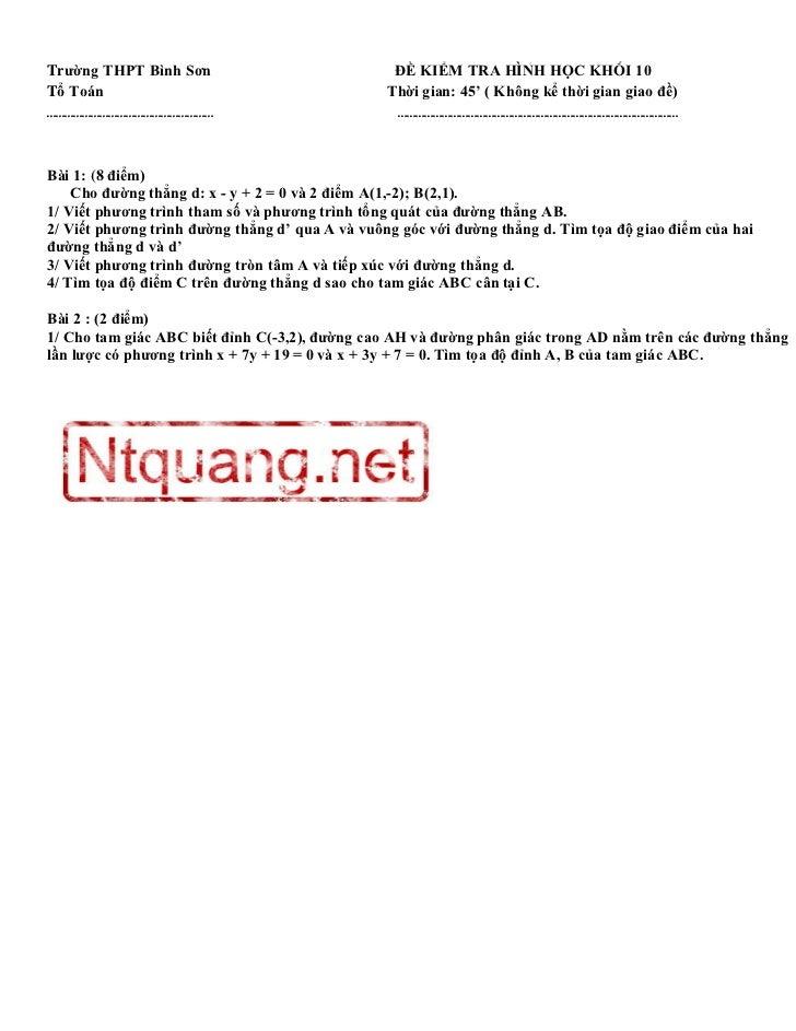 Trường THPT Bình Sơn                              ĐỀ KIỂM TRA HÌNH HỌC KHỐI 10Tổ Toán                                     ...