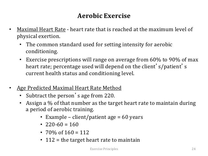 effects of aerobic exercise on heart We aimed to investigate the effects of endurance training intensity (1) on systolic blood pressure (sbp) and heart rate (hr) at rest before exercise, and during and after a maximal exercise test and (2) on measures of hr variability at rest before exercise and during recovery from the exercise test, in at least.