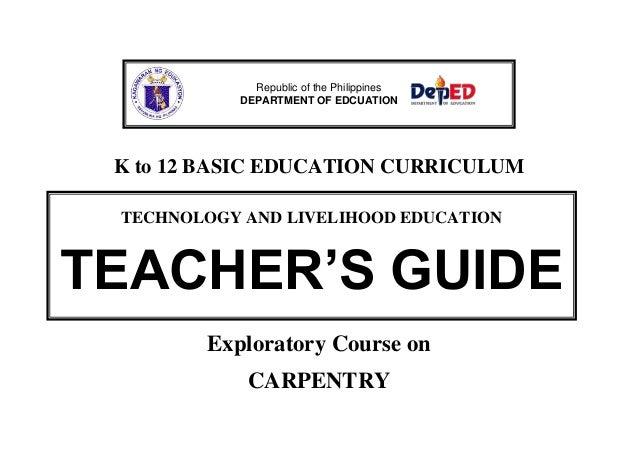 K to 12 carpentry teacher's guide