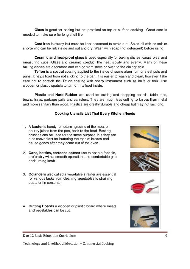 Catering Tools And Equipment And Their Uses : to 12 commercial cooking learning module
