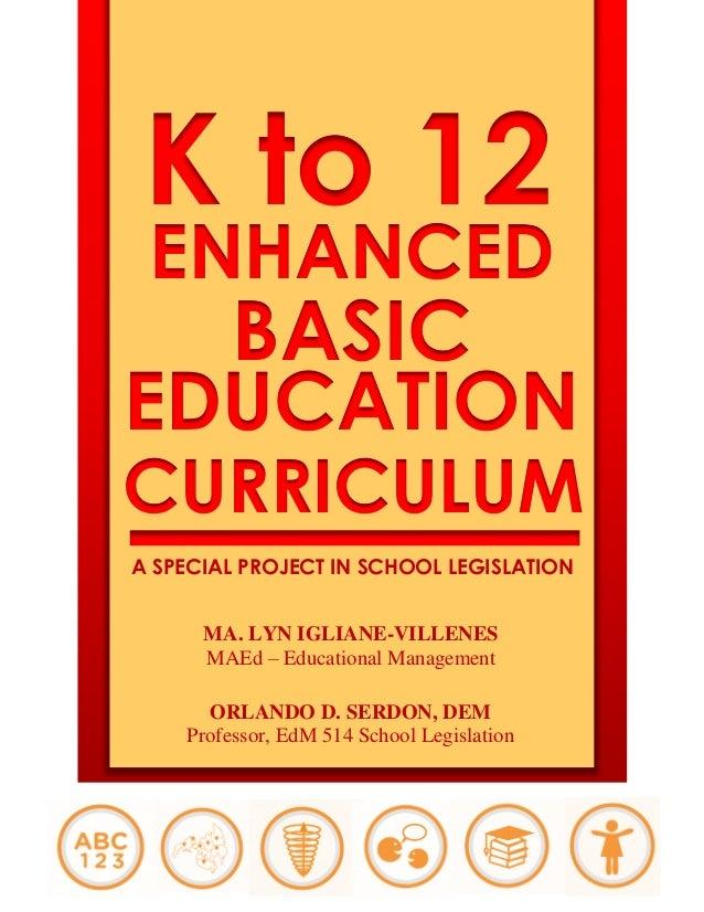 K to 12 ENHANCED BASIC EDUCATION CURRICULUM A SPECIAL PROJECT IN SCHOOL LEGISLATION MA. LYN IGLIANE-VILLENES MAEd – Educat...