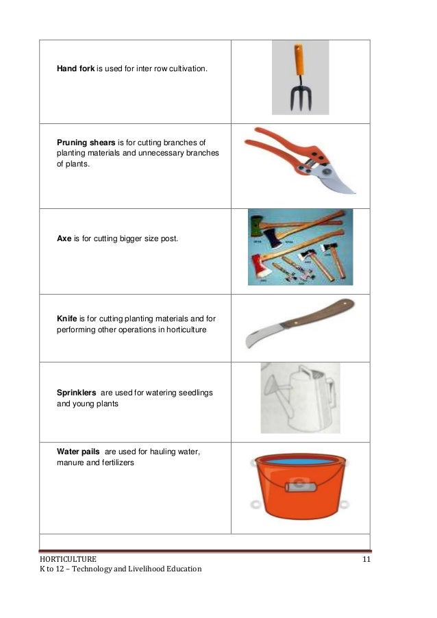 Gardening tools with pictures and their uses for Different tools and equipment in horticulture