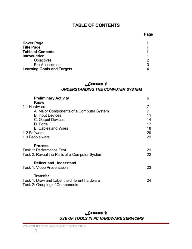 TABLE OF CONTENTS Page Cover Page i Title Page ii Table of Contents iii Introduction 1 Objectives 2 Pre-Assessment 3 Learn...