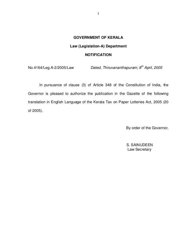 1                          GOVERNMENT OF KERALA                        Law (Legislation-A) Department                     ...