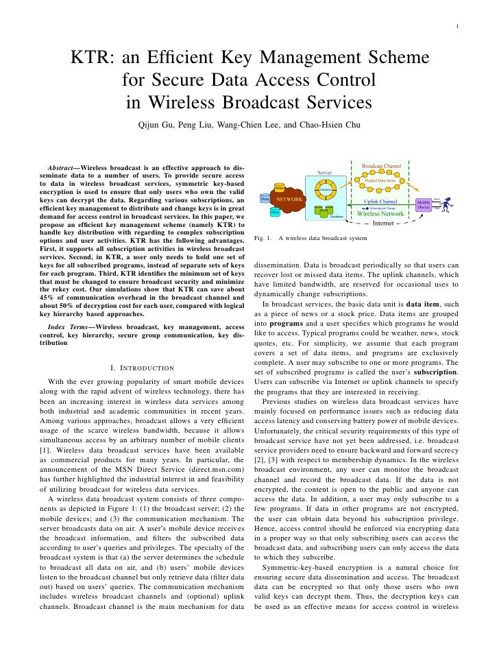 Ktr an efficient key management scheme for secure data access control in wireless broadcast services