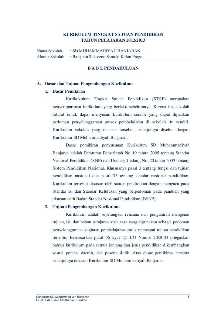 KURIKULUM TINGKAT SATUAN PENDIDIKAN                       TAHUN PELAJARAN 2012/2013Nama Sekolah         : SD MUHAMMADIYAH ...