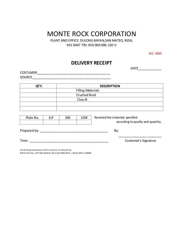 MONTE ROCK CORPORATION                             PLANT AND OFFICE: DULONG BAYAN,SAN MATEO, RIZAL                        ...