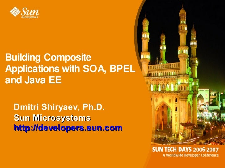 Building CompositeApplications with SOA, BPELand Java EE Dmitri Shiryaev, Ph.D. Sun Microsystems http://developers.sun.com