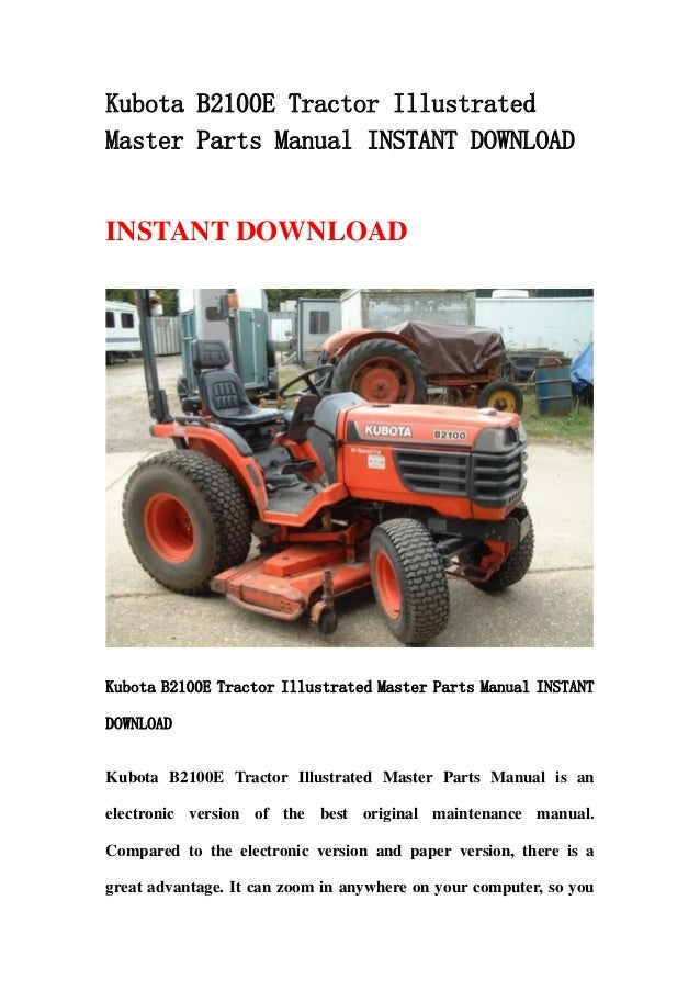 Kubota Tractor Parts Lookup : Kubota b e tractor illustrated master parts manual