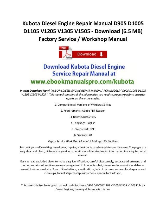 Kubota Diesel Engine Repair Manual D905 D1005 D1105 V1205 V1305 V1505 - Download (6.5 MB) Factory Service / Workshop Manua...