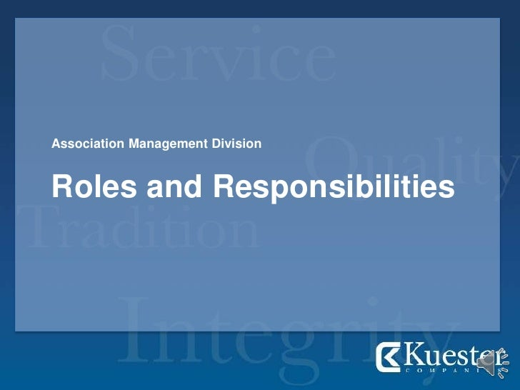 Association Management Division<br />Roles and Responsibilities<br />