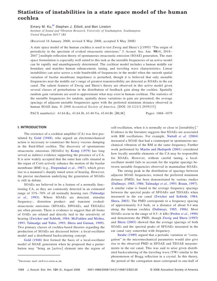 Statistics of instabilities in a state space model of the human cochlea              Emery M. Ku,a Stephen J. Elliott, and...