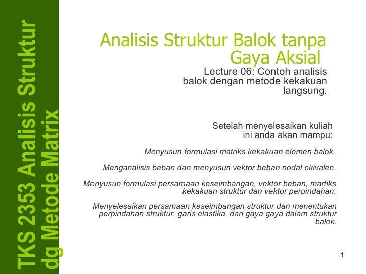 TKS 2353 Analisis Struktur dg Metode Matrix Analisis Struktur Balok tanpa Gaya Aksial  Lecture 06: Contoh analisis balok d...