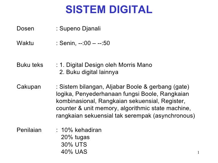 Kuliah 1 sistem digital