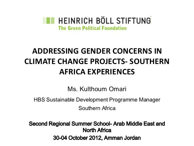 ADDRESSING GENDER CONCERNS INCLIMATE CHANGE PROJECTS- SOUTHERN        AFRICA EXPERIENCES               Ms. Kulthoum Omari ...