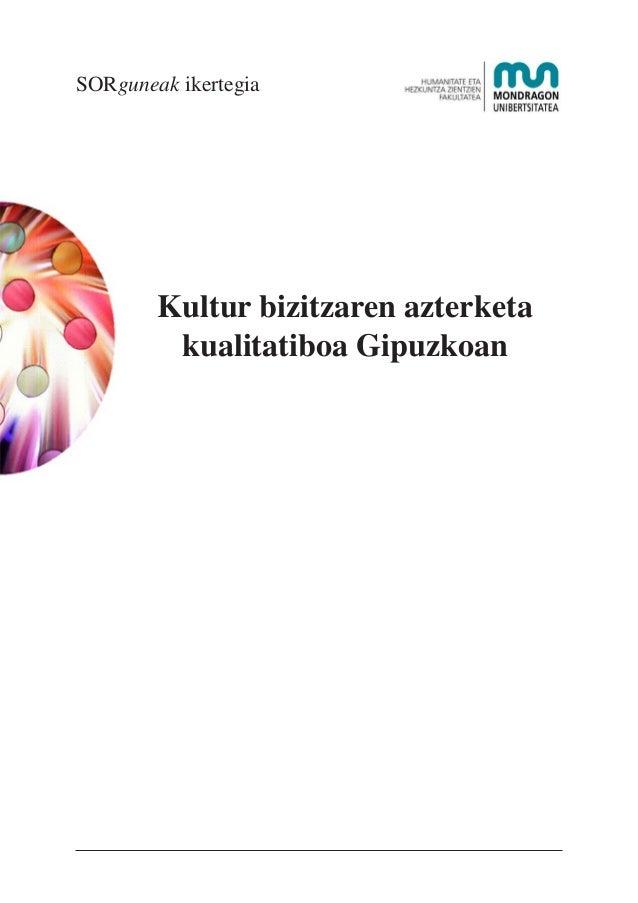 SORguneak ikertegia  Kultur bizitzaren azterketa kualitatiboa Gipuzkoan