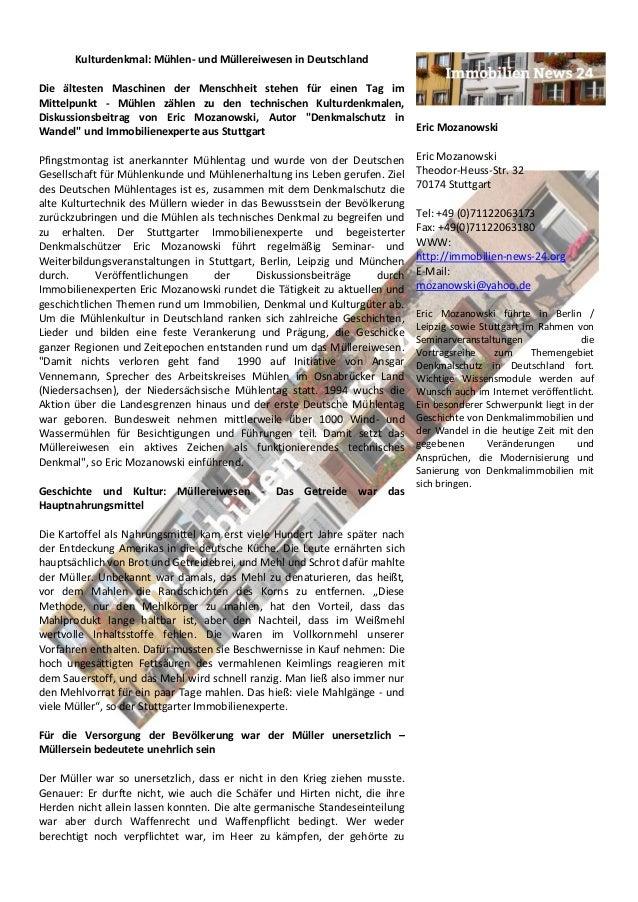 Kulturdenkmal: Mühlen- und Müllereiwesen in Deutschland Die ältesten Maschinen der Menschheit stehen für einen Tag im Mitt...