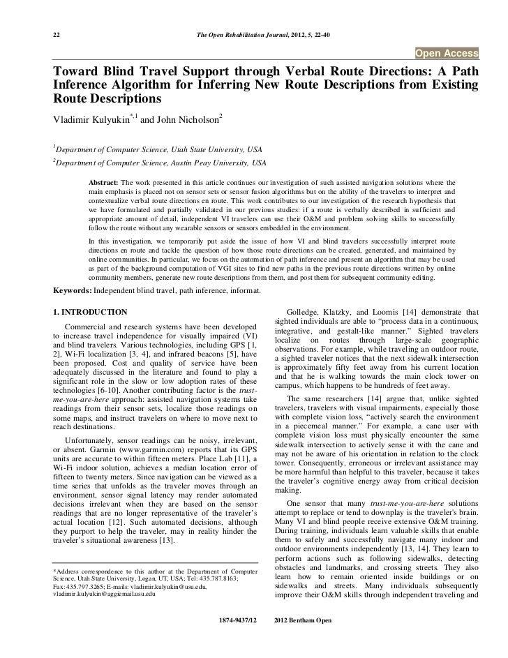 22                                               The Open Rehabilitation Journal, 2012, 5, 22-40                          ...